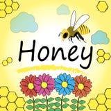 Ställ in för honung- och bietiketter Arkivfoton