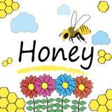 Ställ in för honung- och bietiketter Arkivbilder