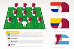 Ställ in för qatariskt fotbollslag royaltyfri illustrationer