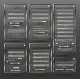Ställ in för rengöringsdukdesignen, inloggningsformen, registreringsformen, formen för formändringslösenordet, lösenordåterställn Arkivbilder