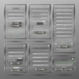 Ställ in för rengöringsdukdesignen, inloggningsformen, registreringsformen, formen, formändringslösenordet, lösenordåterställning Arkivfoton