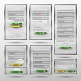 Ställ in för rengöringsdukdesignen, inloggningsformen, registreringsformen, formen, formändringslösenordet, lösenordåterställning Royaltyfria Bilder