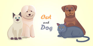 Ställ in för tecknad filmvektorn för katten och för hunden tillsammans tecken Lyckliga husdjur för bästa vän Isolerat älskvärt fö Royaltyfri Bild