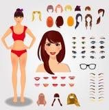Ställ in för unikt kvinnligt tecken för skapelse Den fulla kroppen, framsida, synar royaltyfri illustrationer