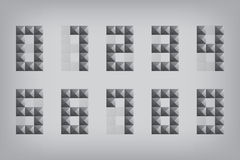 Ställ in för zero-ninealfabetet för nummer 0-9 den geometrisk symbolen och teckentriang Arkivfoto