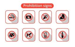 Ställ in förbjudet tecken Arkivfoton