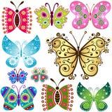 Ställ in fantasifjärilar Arkivbilder