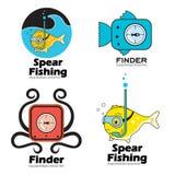 Ställ in fiske, fiskupphittarelogoen och emblemet Royaltyfri Bild