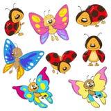 Ställ in fjärilar och nyckelpigor Tecknad filmkryp Royaltyfri Bild