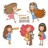 Ställ in flickor utforskaren stock illustrationer