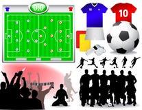 ställ in fotbollvektorn Arkivbild