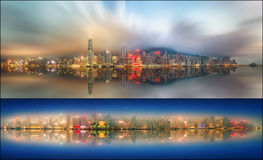 Ställ in från sikter av Hong Kong och det finansiella området Arkivbilder