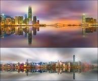 Ställ in från sikter av Hong Kong och det finansiella området Arkivfoton