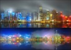 Ställ in från sikter av Hong Kong och det finansiella området Arkivbild