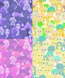 Ställ in framsidor av kvinnor, purpurfärgade flickor seamless vektor för illustration Arkivbild