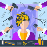 Ställ in friseringobjekt, stylisten, sax, ben vektor illustrationer