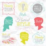 Ställ in frisersalongbeståndsdelar. Färga krita. stock illustrationer