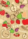 Ställ in frukter, illustration arkivbilder