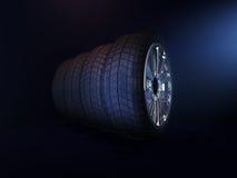 Ställ in fyra däck framförande 3d Arkivfoton