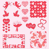 Ställ in garnering för dag för valentin` s Isolerat anmärker också vektor för coreldrawillustration royaltyfri illustrationer