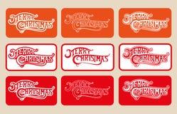 STÄLL IN glad jul för logotypen på olik färgbakgrund Arkivfoton