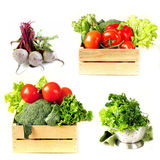 Ställ in grönsaker i träask, grönsallatsallad och rödbeta Royaltyfria Foton