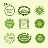Ställ in grönsaklogoer sund mat, 100% strikt vegetariannaturprodukten, fa Arkivfoton