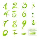 Ställ in hand-drog kalligrafinummer och symboler vattenfärg arkivfoto