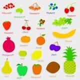 Ställ in handdrowfrukter och bär Royaltyfria Bilder