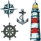 Ställ in havsillustrationer stock illustrationer