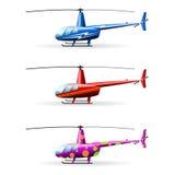 Ställ in helikoptrar Vit bakgrund Isolerat anmärker royaltyfri illustrationer