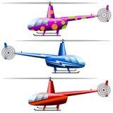 Ställ in helikoptrar Vit bakgrund Isolerat anmärker Stock Illustrationer
