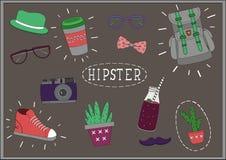 Ställ in hipstersaker på svart tavla Arkivfoto