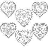 Ställ in hjärtadesignhanden dragen Arkivfoton