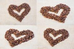 Ställ in hjärtor av kaffebönor Arkivfoto