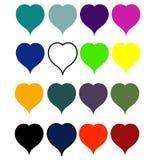 Ställ in hjärtor färgar allra av regnbågen Royaltyfri Fotografi