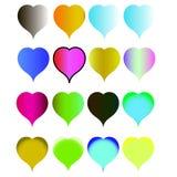 Ställ in hjärtor färgar allra av regnbågen stock illustrationer
