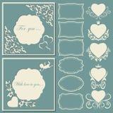 Ställ in hjärtor och ramar av olika former Dekorativt ramsnittpapper royaltyfri illustrationer