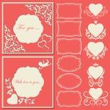 Ställ in hjärtor och ramar av olika former Dekorativt ramsnittpapper vektor illustrationer