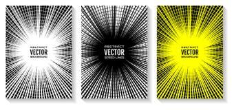 Ställ in humorbokhastighetslinjer radiell bakgrund Den geometriska illustrationen av strålar skar vid runda cirklar, som utjämnar royaltyfri illustrationer