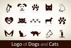 Ställ in hund- och kattlogovektorn Royaltyfria Foton