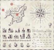 Ställ in i medeltida kartografi stock illustrationer