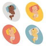 Ställ in illustrationen av Baby att sova Arkivfoto
