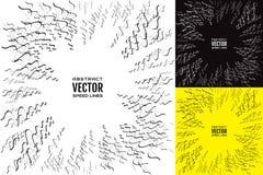 Ställ in illustrationen av radiella strålar och krabba linjer med effektmaktexplosion element för klockajuldesign vektor illustrationer