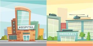 Ställ in illustrationen för vektorn för sjukhusbyggnadstecknade filmen den moderna Bakgrund för medicinsk klinik och stads Akutmo royaltyfri illustrationer