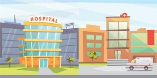 Ställ in illustrationen för vektorn för sjukhusbyggnadstecknade filmen den moderna Bakgrund för medicinsk klinik och stads Akutmo stock illustrationer