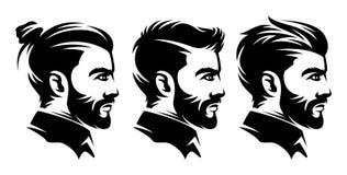 Ställ in illustrationer för frisersalongmanfrisyren från sidan stock illustrationer
