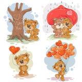 Ställ in illustrationer för vektorgemkonst av förälskade nallebjörnar royaltyfri illustrationer