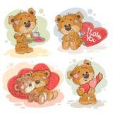 Ställ in illustrationer för vektorgemkonst av förälskade nallebjörnar stock illustrationer