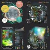Ställ in infographicsen med solida vågor på en mörk bakgrund royaltyfri illustrationer